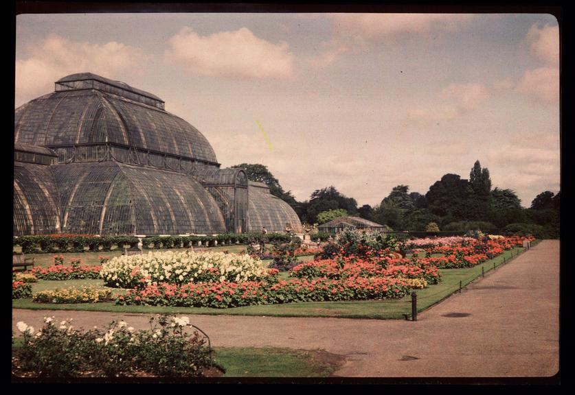 The Palm House, Kew Gardens       A Dufaycolor colour transparency of The Palm House in Kew Gardens