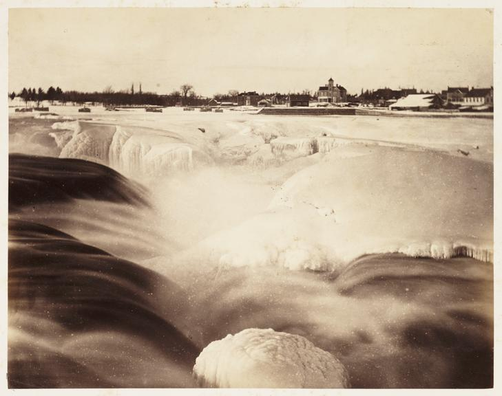 'Chaudiere Falls in Winter'       A photograph of the partially-frozen Chaudiere Falls on the Ottawa River in Ontario, Canada