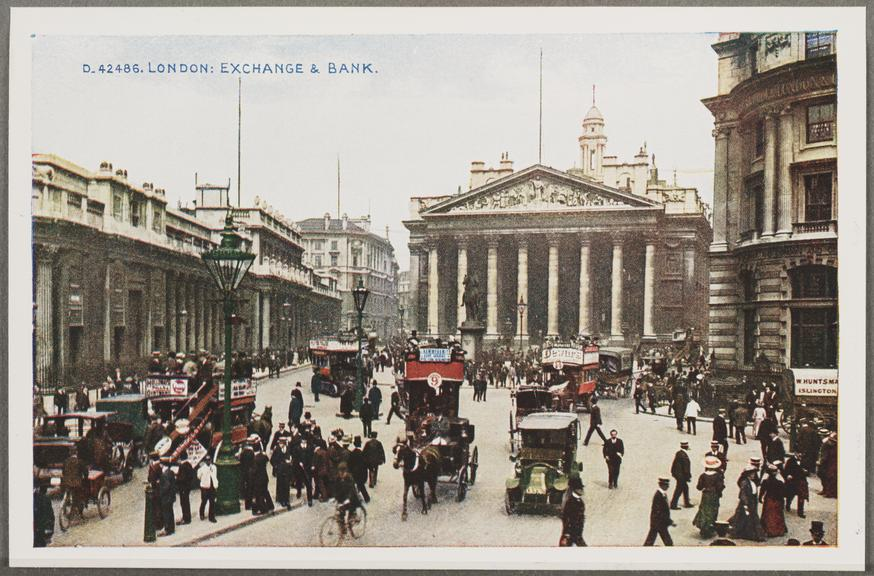 'London: Exchange And Bank', about 1914       A reproduction of a colour photograph of the Royal Exchange and the Bank of England in London