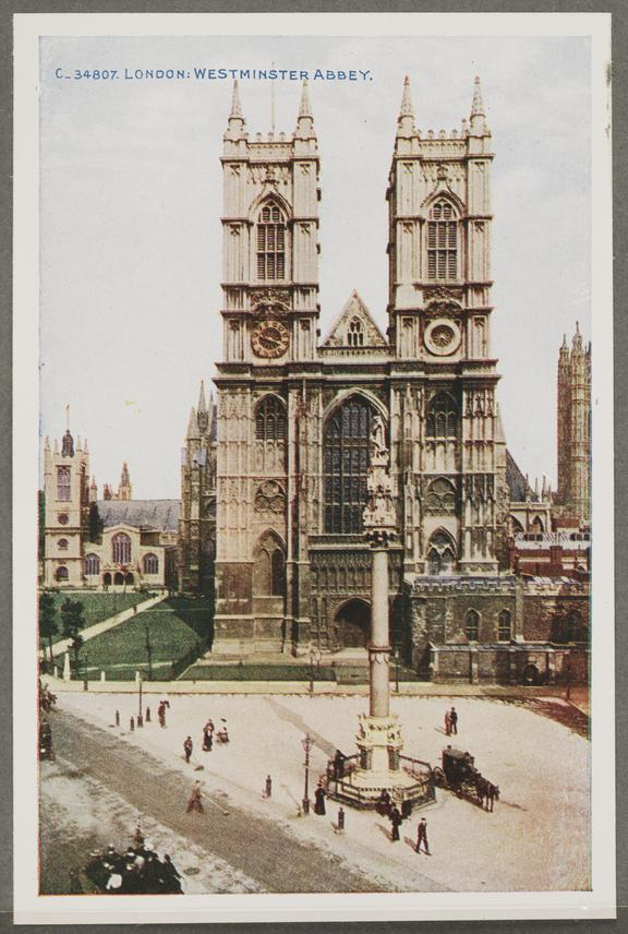 'London: Westminster Abbey', about 1914       A reproduction of a colour photograph of Westminster Abbey, London