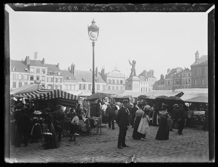'Market Place In Dunkirk', 1906       A photograph of the market place in Dunkirk, Northern France, taken by Edgar Tarry Adams (1852-1926), on 8 September