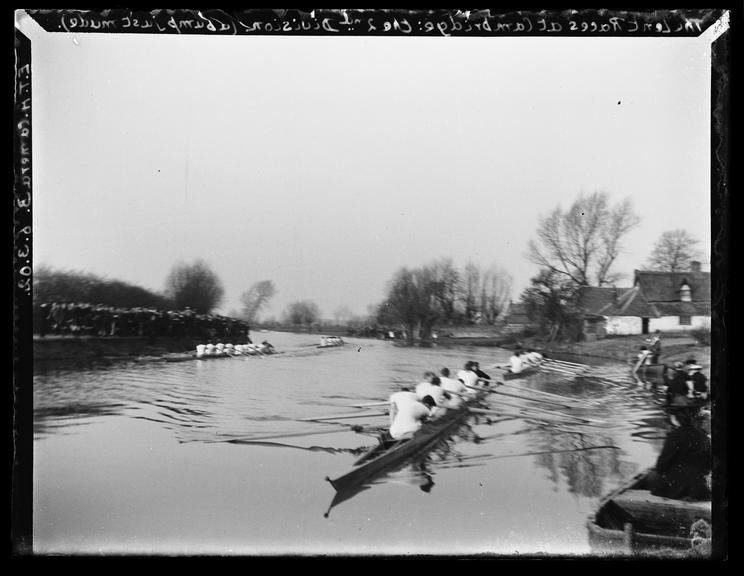 'The Lent Races At Cambridge: The Second Division (A Bump Just Made), 1902       A photograph of rowing teams from the colleges of Cambridge University competing in the annual Lent Races