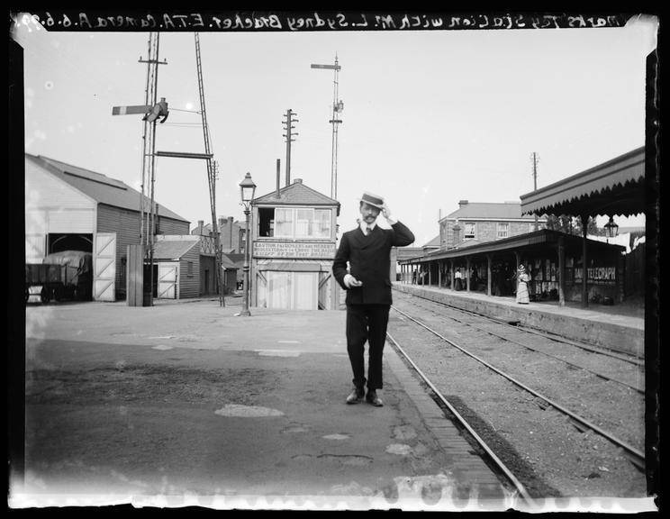 'Marks Tey Station With Mr. L. Sydney Bracher, 1899       A photograph of Mr L