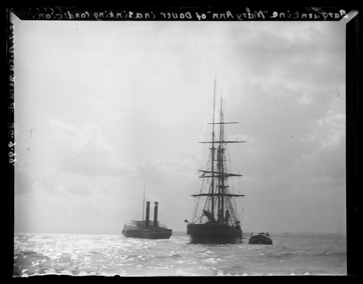 'Barquentine 'Mary Ann' Of Dover In A Sinking Condition', 1899       A photograph of the barquentine 'Mary Ann' of Dover, in the English Channel with two other ships alongside it