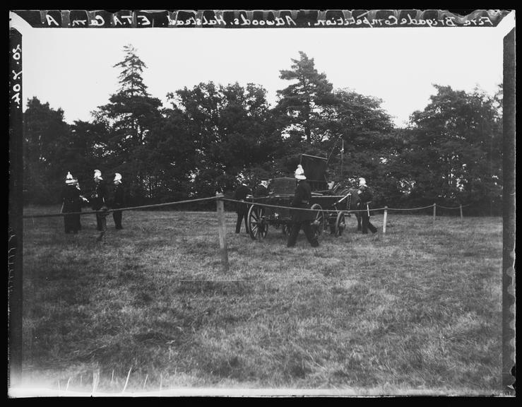 'Fire Brigade Competition, Attwoods, Halstead', 1904       A photograph of the Halstead Fire Brigade during a competition at Attwoods, Halstead