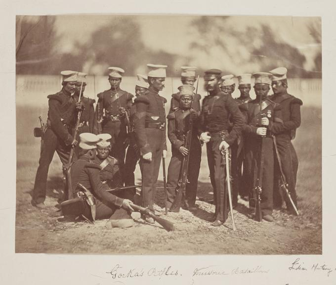 'Gorka's Rifles. Mussoree Bataillons'       A photograph of a group of Gurkha soldiers with their British officer
