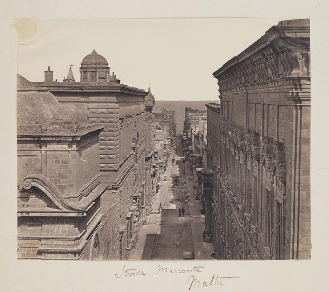 Strada Marcante, Malta       A photograph of a street in Malta, taken by James Robertson (1813-1888) in 1856