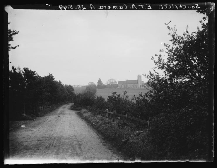 'Southfleet', 1899       A photograph of a country lane looking towards the church of St