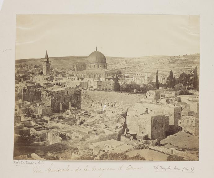 'Vue General de la Mosquee d'Omar'       A photograph of the Mosque of Omar, Jerusalem, taken by Robertson, Beato and Co in 1857