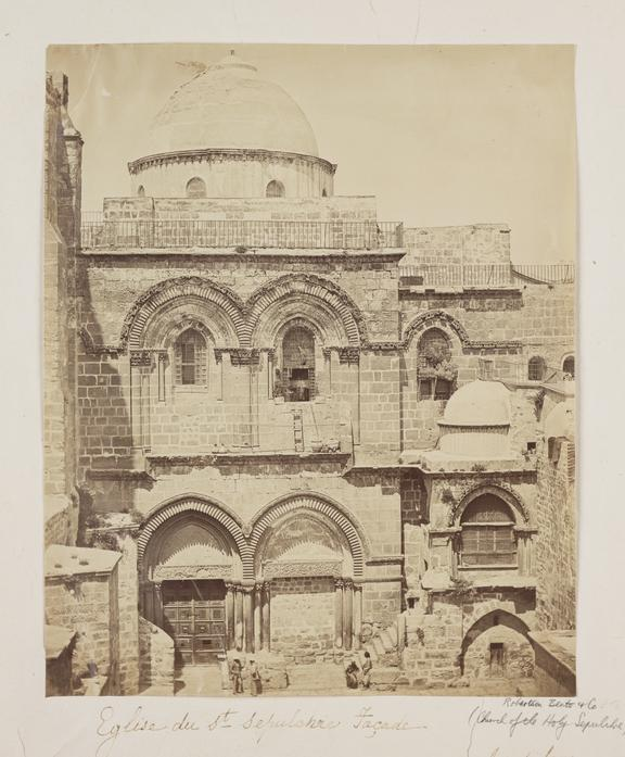 'Eglise du St Sepulchre Facade'       A photograph of the Church of the Holy Sepulchre, Jerusalem, taken by Robertson, Beato and Co in 1857