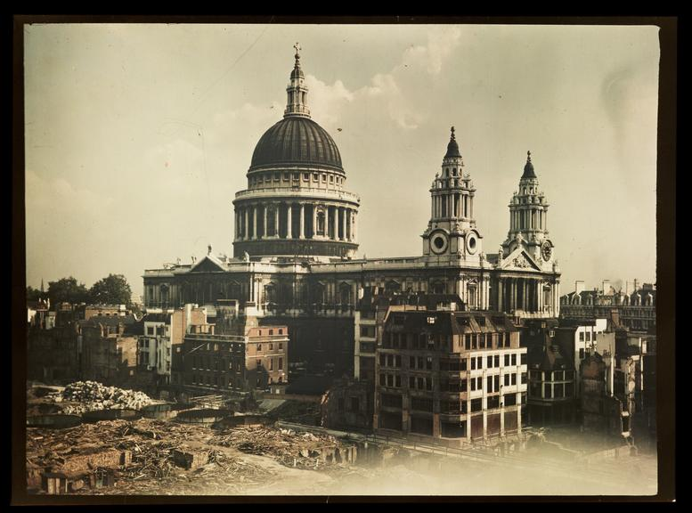 St Paul's Cathedral       A Dufaycolor colour transparency of St Paul's Cathedral in London, taken by an unknown photographer in about 1943