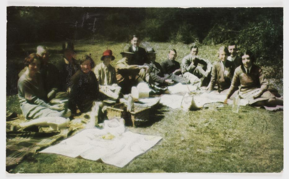 Picnic on Stanmore Common, 1929       A Colorsnap colour photograph of members of the newly-formed Kodak Research Laboratory enjoying a picnic on Stanmore