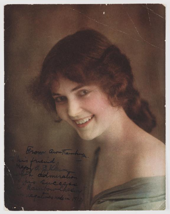 Portrait of a woman, c. 1912       A Polychromide colour photograph of a young woman, taken by Aron Hamburger in about 1912