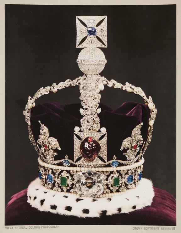 Imperial State Crown, 1937       A Vivex colour photograph of the Imperial State Crown, part of the British Crown Jewels, photographed by Dr D.A