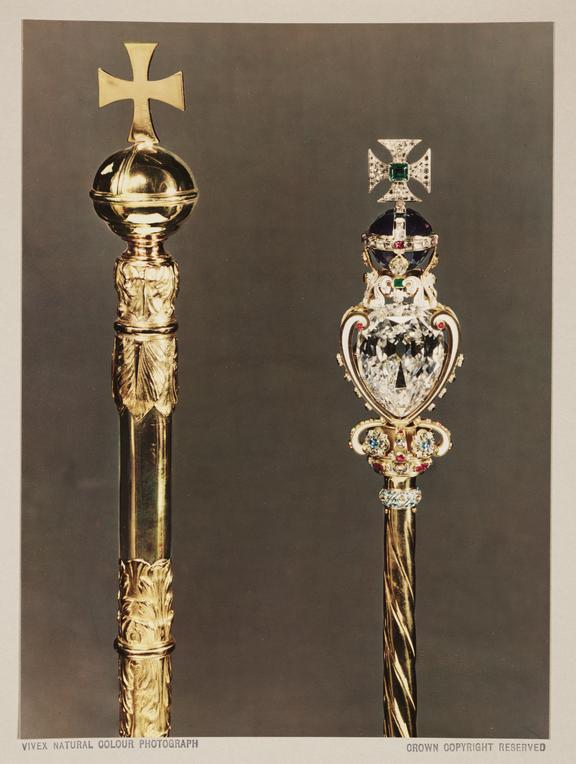 Royal Sceptres, 1937       A Vivex colour photograph of two Royal Sceptres, part of the British Crown Jewels, photographed by Dr D.A