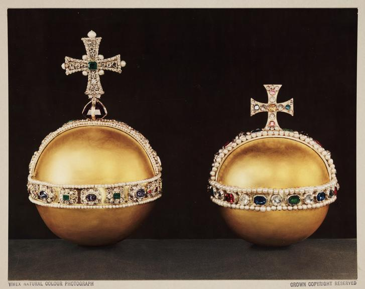 Pair of orbs, 1937       A Vivex colour photograph of two orbs, part of the British Crown Jewels, photographed by Dr D.A