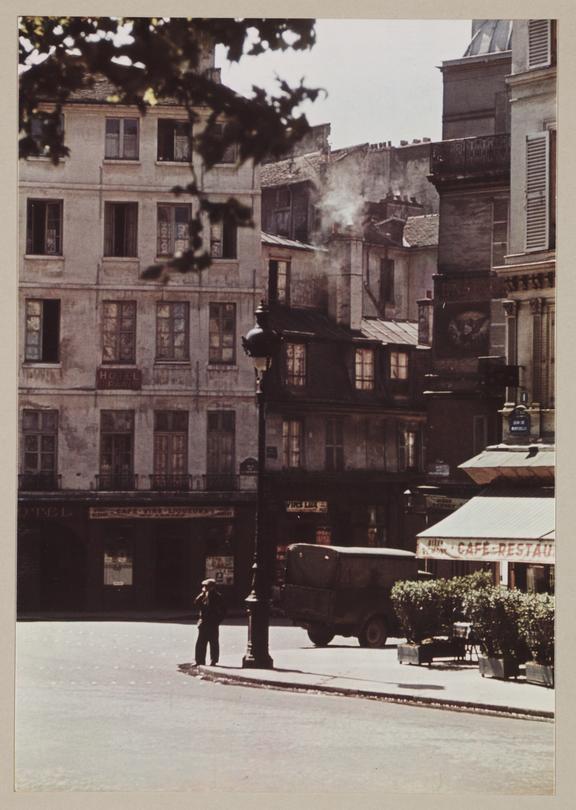 Parisian street, about 1937       A Vivex colour photograph of a street in Paris