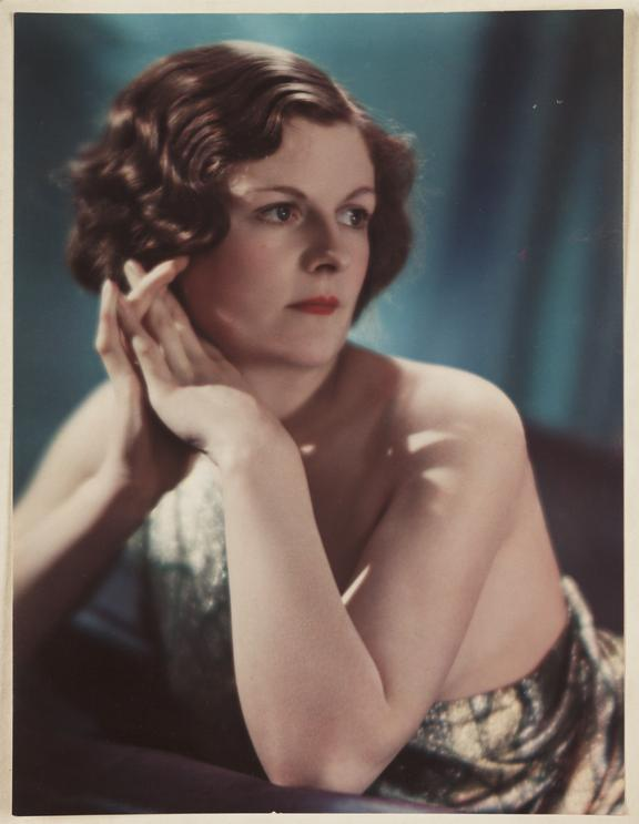 Portrait of a woman, 1931       A Vivex colour photograph of a woman, taken by an unknown photographer in 1931