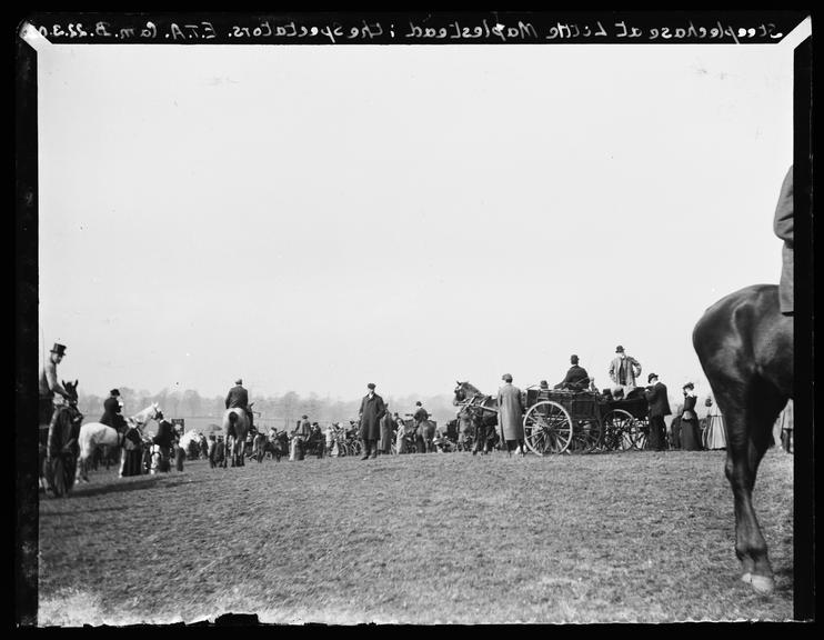 'Steeplechase At Little Maplestead: The Spectators', 1902       A photograph of a crowd of spectators watching a steeplechase at the village of Little Maplestead, Essex