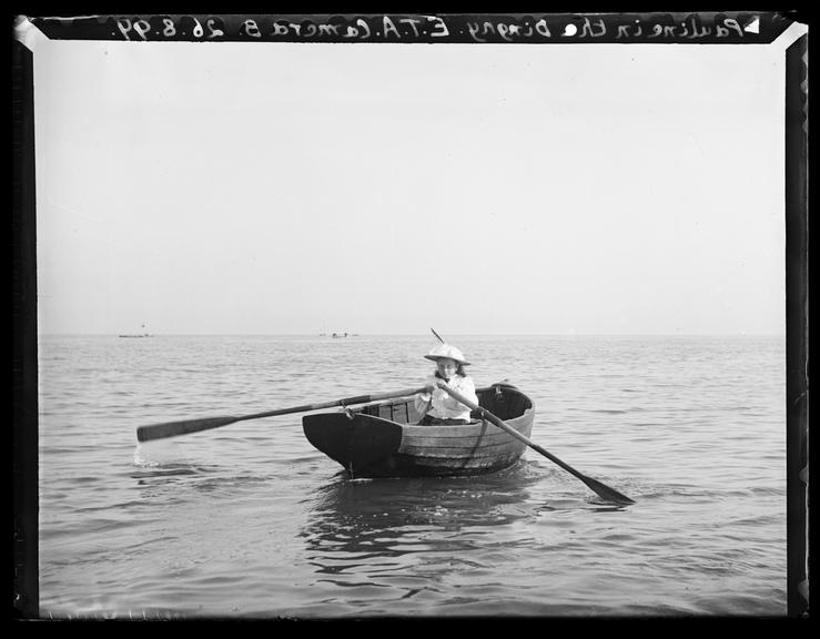 'Pauline In The Dinghy', 1899       A photograph of Pauline Adams (1889-1969), in a rowing boat named 'The Dinghy' off the coast of Deal in Kent