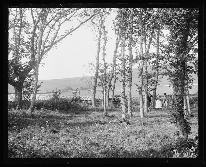 'View Of Meadow Through Woods With Two Men And One Woman ...', about 1899       A photograph looking across a meadow,  taken by Edgar Tarry Adams (1852-1926), in about 1899
