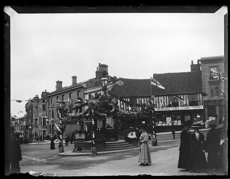 'Coronation Decorations In Halstead', 1910       A photograph of decorations in the village of Halstead, Essex, to celebrate the Coronation of King George V (1865-1936)