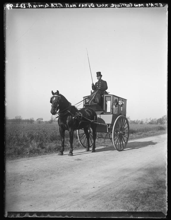 'Edgar Tarry Adams' New Carriage Near Dynes Hall', 1899       A photograph of a horse-drawn carriage, taken by its owner, Edgar Tarry Adams (1852-1926), near Dynes Hall in Halstead