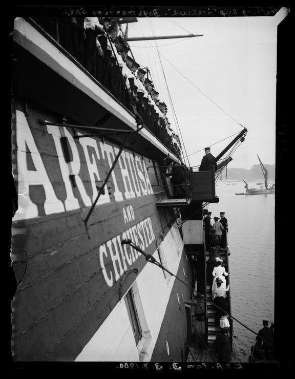 'Training Ship, 'Arethusa', Boys Manning Ship', 1900       A photograph of the training ship 'Arethusa' moored at Greenhithe, Kent, taken by Edgar Tarry Adams (1852-1926)