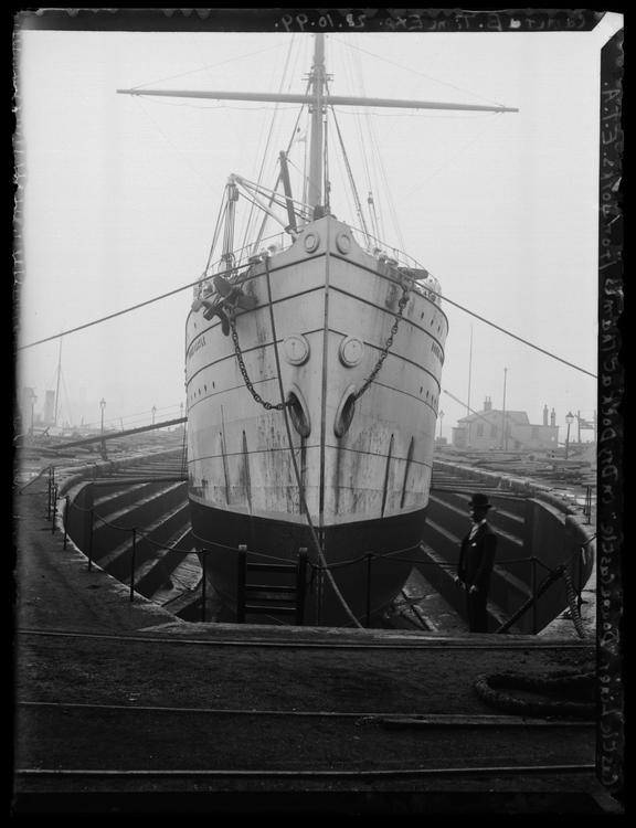 'Castle Liner 'Doune Castle' In Dry Dock At Thames Ironworks', 1899       A photograph of the Castle Liner 'Doune Castle' in dry dock at the Thames Ironworks, Blackwall, London