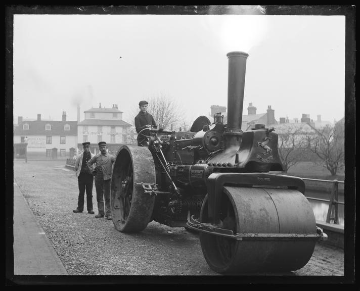 'Invicta Steamroller 'St. Glenny'', about 1920.       A photograph of a steamroller, taken by Edgar Tarry Adams (1852-1926), in about 1920