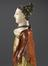 Coloured wax model of female, half skeletal, half living and dressed in regency dress, badly damaged, English,
