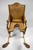 Parturition chair, German, 18th century.       Full frontal view, grey background.
