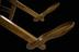 Parturition chair, German, 18th century.       Detail view of foot rests. Black background.