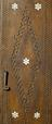 Cabinet, embossed and engraved with Islamic motifs, brass, persian (?), 1400-1850. Detail of door back with mother of