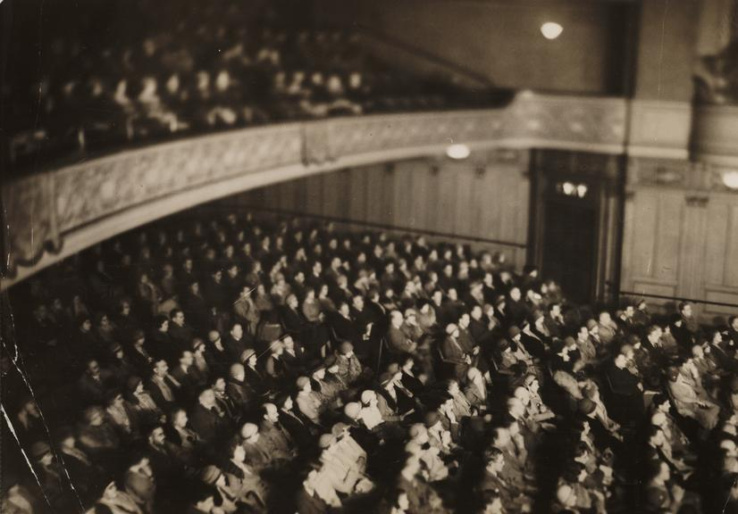 Cinema audience pictured using the Ilford infra-red process       A photograph entitled 'Cinema audience pictured using the Ilford infra-red process'
