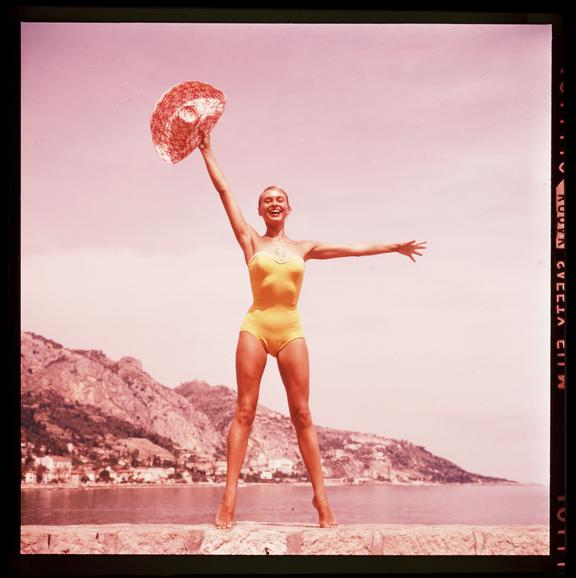 Woman in a yellow swim suit