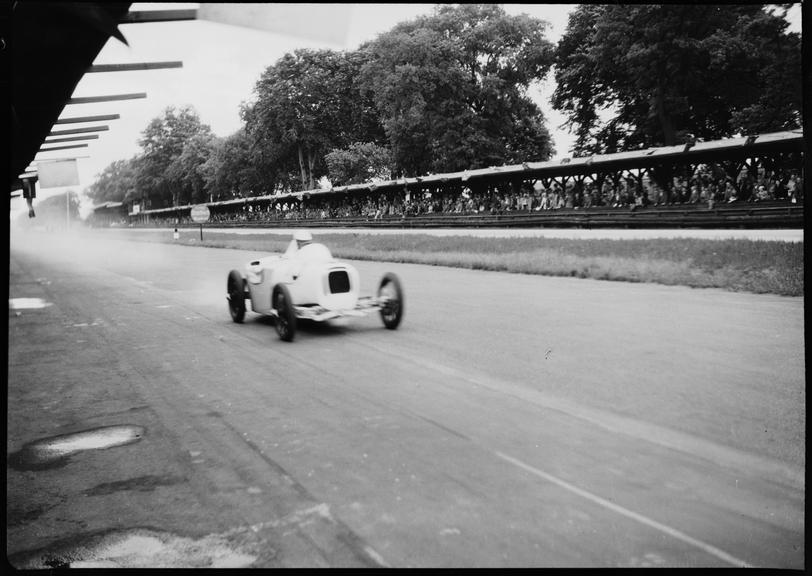 Gerhard Macher driving his DKW racing car along AVUS race track, Berlin