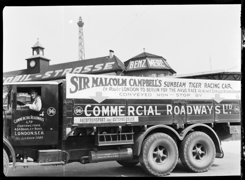 Sir Malcolm Campbell's Sunbeam Tiger racing car lorry, Berlin