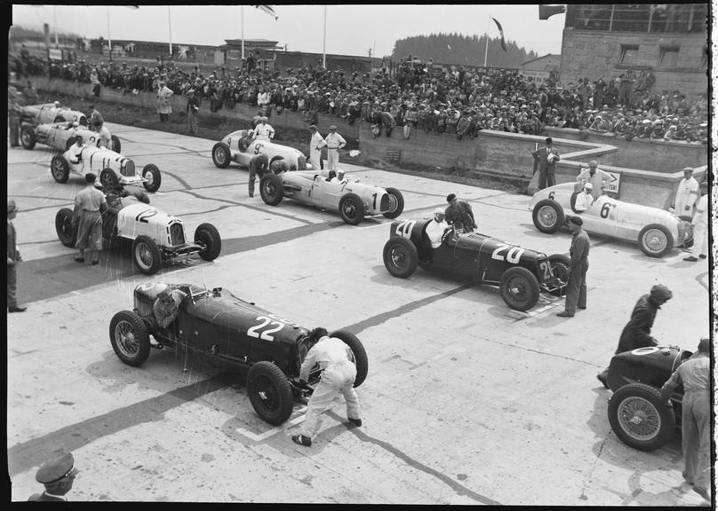 Racing cars on starting grid, German Grand Prix, Nurburgring