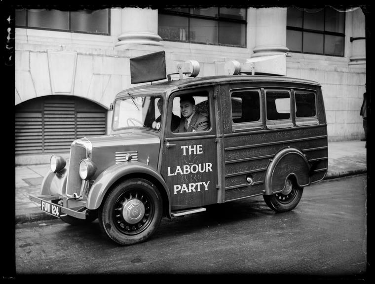 'New Labour loudspeaker van for rural areas'       A photograph of the new Labour loudspeaker van for rural areas, taken in April 1939 by Sayers for the Daily Herald