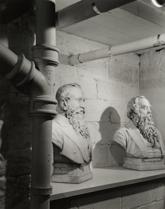 'Bust of Sir Titus Salt & Sir Isaac Holden, Salt's Mill, Saltaire', about 1986