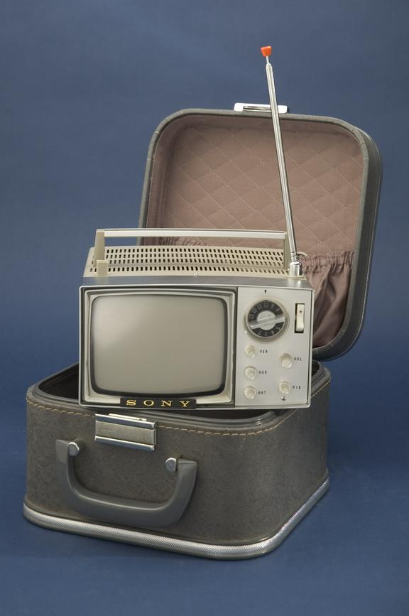 """Sony 5"""" 5-303W portable television receiver, in carrying case       A Sony 5-303W portable television receiver from 1962, with its own padded vanity case"""