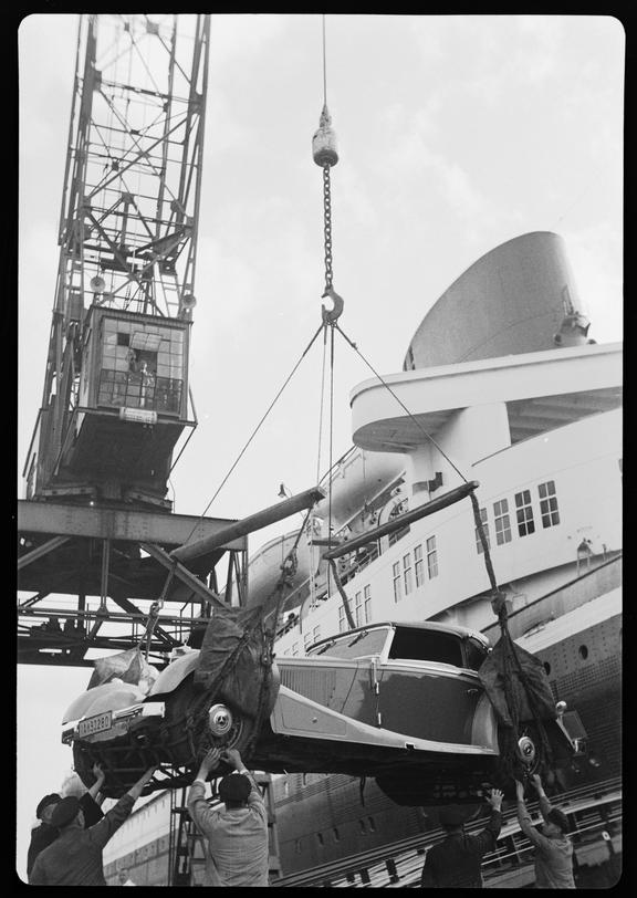 Car being unloaded from a ship