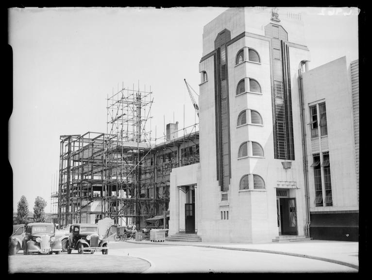 Hoover's New Factory       A photograph of the construction of the Hoover Factory at Western Avenue, Perivale, Middlesex in 1935