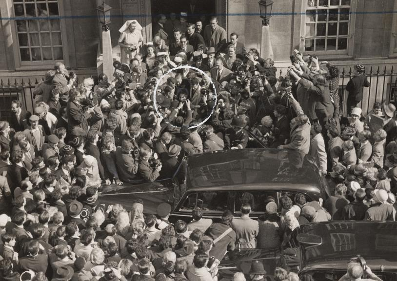 'Elizabeth Taylor mobbed in London'       A photograph entitled 'Elizabeth Taylor mobbed in London', taken in March 1961 by Ron Burton for the Daily Herald