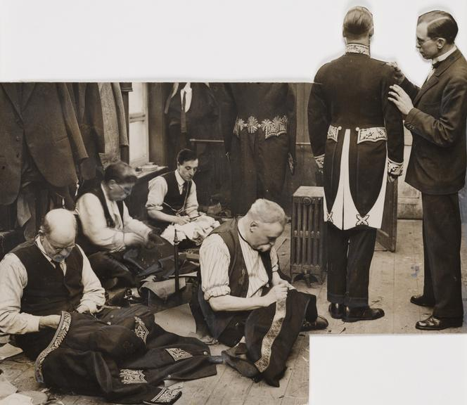 Tailors sewing military uniforms       A photograph showing tailors sewing military dress uniforms