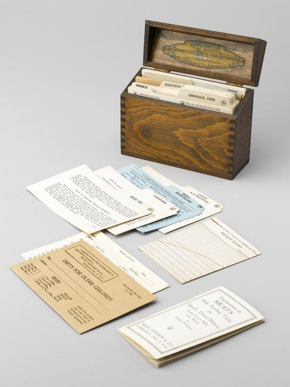 Selection of infant diet cards, by Mead, Johnson and Co., Evansville, Indiana, USA, c. 1930. 3/4 view open with some of