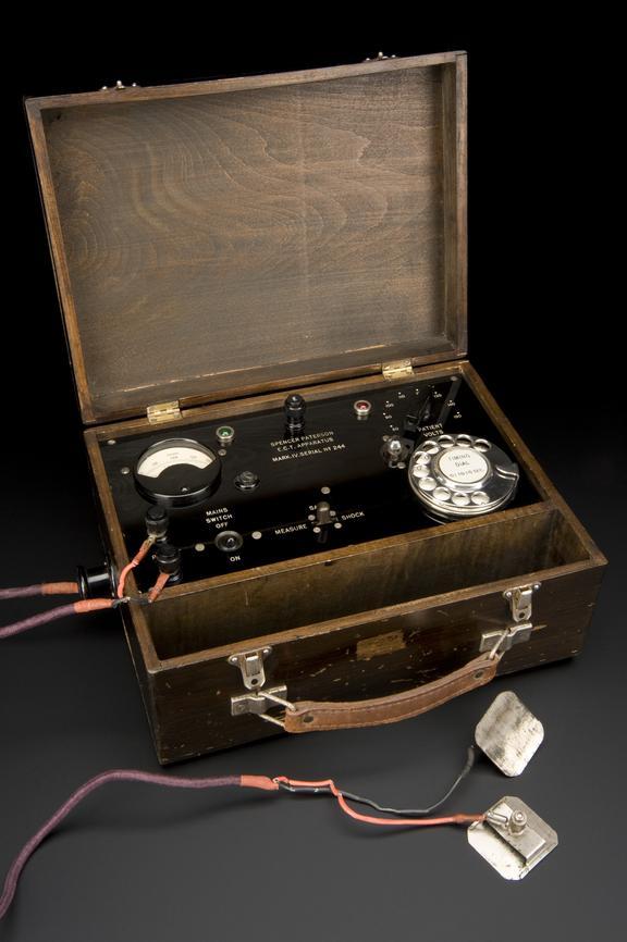 Electroconvulsive therapy machine, Spencer-Paterson mark lV, English, 1945.       Full view, graduated matt black perspex