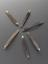 Whalebone hair curlers, 6.  Overhead view of whole object against dark grey background