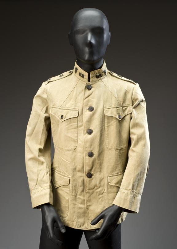 General Gorgas' field jacket, khaki, 1880-1918, America.       Full view, Jacket on dummy.       Graduated grey background.